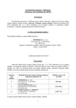 Rozhodnutí zadavatele - Psychiatrická nemocnice v Dobřanech