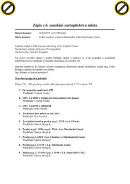 Zápis z 6. zasedání zastupitelstva města