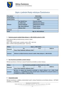 Zápis z jednání Rady městyse Častolovice