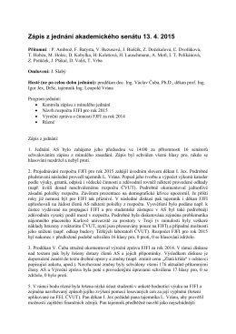 Zápis ze zasedání AS FJFI ČVUT v Praze konaného dne 13.4.2015