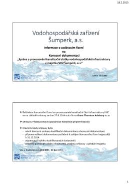 Koncesní řízení - Vodohospodářská zařízení Šumperk