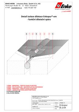 Detail izolace dilatace Enkopur®-em - funkční dilatační spára