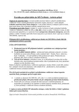 Pravidla pro přijetí dítěte do MŠ Čtyřlístek – kritéria přijetí