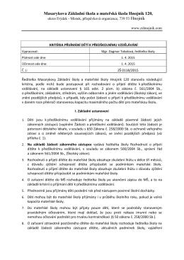 kritéria přijetí do MŠ - Masarykova MŠ a ZŠ Hnojník