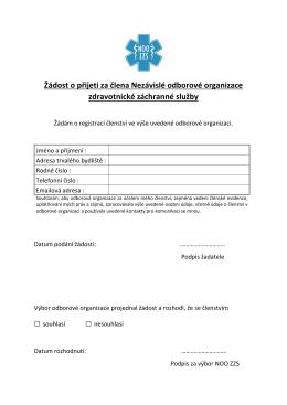 Žádost o přijetí za člena Nezávislé odborové organizace