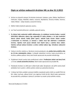 Zápis ze schůze vedoucích družstev ML ze dne 31.3.2015