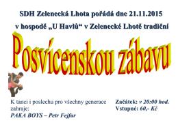 """SDH Zelenecká Lhota pořádá dne 21.11.2015 v hospodě """"U Havlů"""