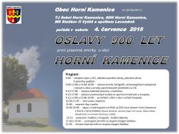 Oslavy 900 let první písemné zmínky o obci Horní