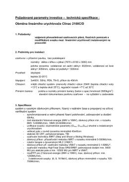 Požadované parametry investice – technická - E
