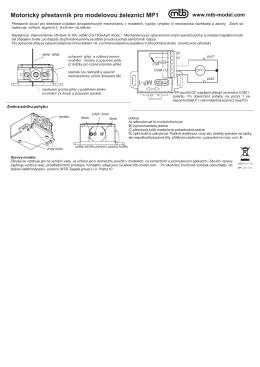 Motorický přestavník pro modelovou eleznici MP1