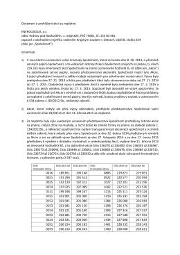 Oznámení o prohlášení akcií za neplatné ENERGOAQUA, a.s. sídlo
