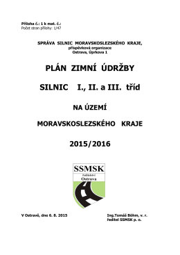 Plán zimní údržby 2015/2016
