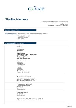 Kreditní informace - Coface-ICON