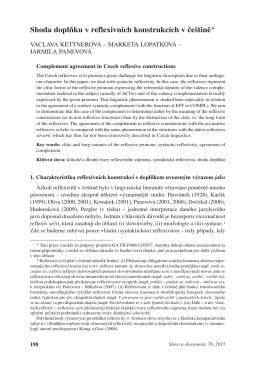 Shoda doplňku v reflexivních konstrukcích v češtině*