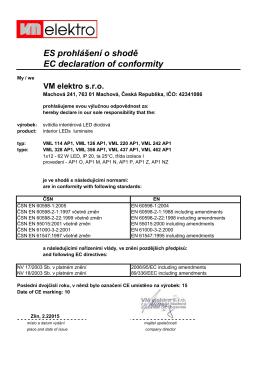 ES prohlášení o shodě EC declaration of conformity
