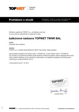 Prohlášení o shodě balkónové nástavce TOPWET TWNR BAL