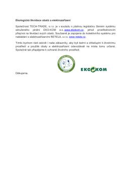 Ekologická likvidace obalů a elektrozařízení - TECH
