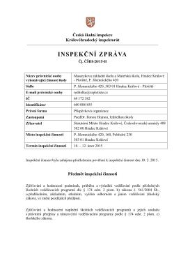 inspekční zpráva - Masarykova základní škola a mateřská škola