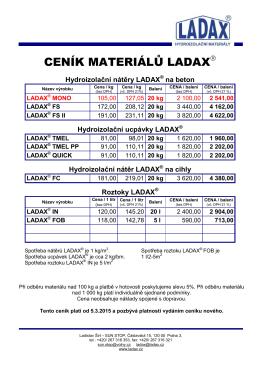 ceník materiálů