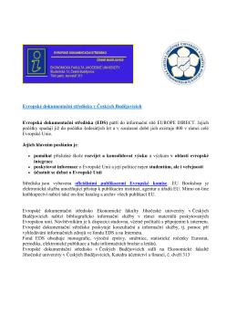 Evropské dokumentační středisko v Českých Budějovicích Evropská