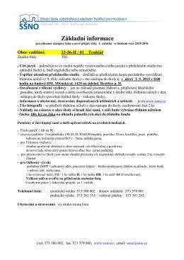 Informace pro 1. ročník obor Truhlář