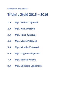 Třídní učitelé 2015 – 2016
