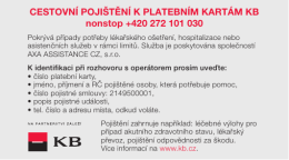 CESTOVNÍ POJIŠTĚNÍ K PLATEBNÍM KARTÁM KB nonstop +420