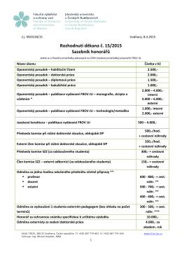 Rozhodnutí děkana č. 15/2015 Sazebník honorářů