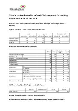 Výroční zpráva tkáňového zařízení Kliniky reprodukční medicíny