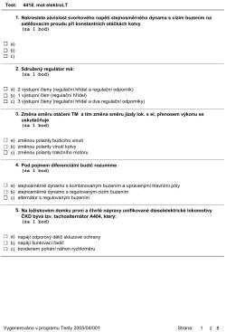Test: 4418. mot elektroLT Nakreslete závislost svorkového napětí