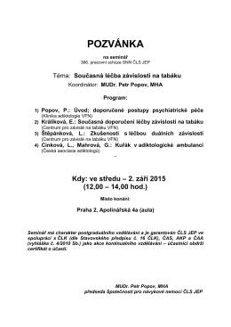 Pozvánka v PDF - Společnost pro návykové nemoci