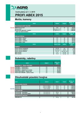 PROFI ABEX 2015 - ABEX substráty