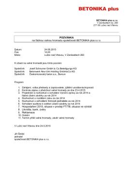 Pozvánka na valnou hromadu společnosti BTK+ 24.06.2015 – PDF