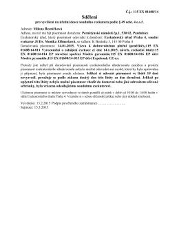 Sdělení - Exekutorský úřad Praha 4, JUDr. Monika Elfmarková