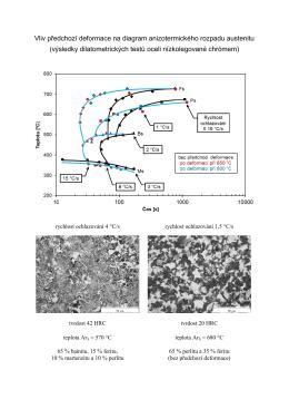 Vliv předchozí deformace na diagram anizotermického rozpadu