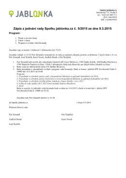 Zápis z jednání rady OS jablonka