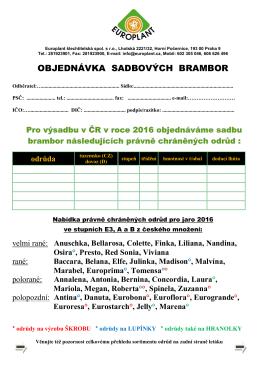 Objednávka - EUROPLANT šlechtitelská, spol. s ro