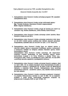 Výpis přijatých usnesení na VIII. zasedání Zastupitelstva obce