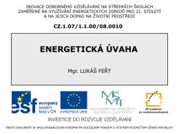 ENERGETICKÁ ÚVAHA