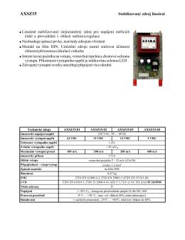 katalogový list lineárních stabilizovaných zdrojů AXSZ15