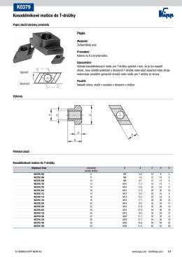 Datový list K0379 Kosodélníkové matice do T
