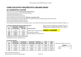 Ceník kovových obložkových zárubní pro dodatečnou