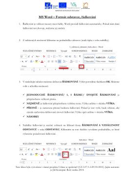 MS Word – Formát odstavce, řádkování (25. lekce)