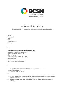 D A R O V A C Í S M L O U V A - Brněnské centrum sportovních nadějí