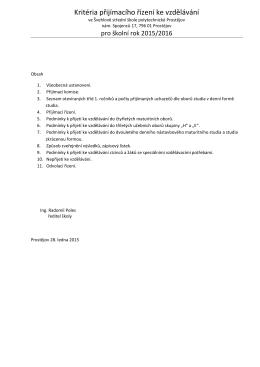 Kritéria přijímacího řízení ke vzdělávání