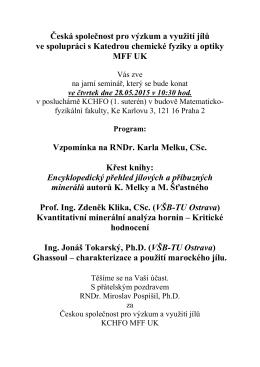 pozvánka. - Česká společnost pro výzkum a využití jílů