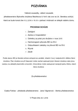 POZVÁNKA - Bytové družstvo Machkova 8/1645