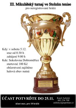 III. Mikulášský turnaj ve Stolním tenise ÚČAST