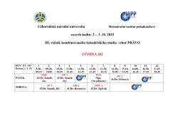 2. - 3. 10. 2015 III. ročník kombinovaného bakalářského studia