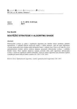 SOUTĚŽÍCÍ STRATEGIE V ALGORITMU SHADE